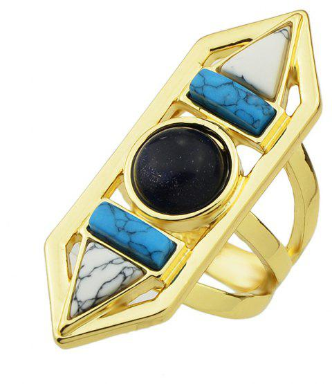 Geometric Turquoise Big Finger Ring for Lady - multicolor ONE-SIZE