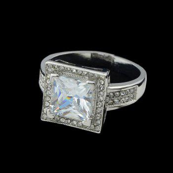 Fashion Metal Geometry Square Zircon Ring for Women - SILVER ONE-SIZE