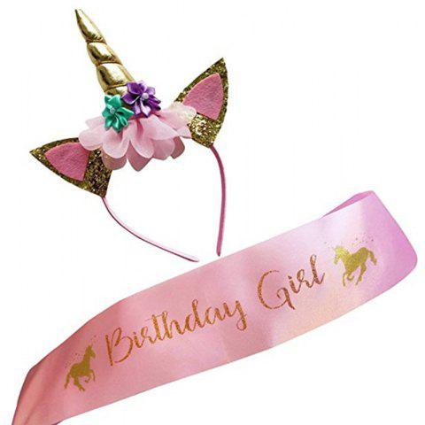 Little Pony Headband Birthday Girl Rose Gold Etiquette Shoulder Strap - LIGHT PINK