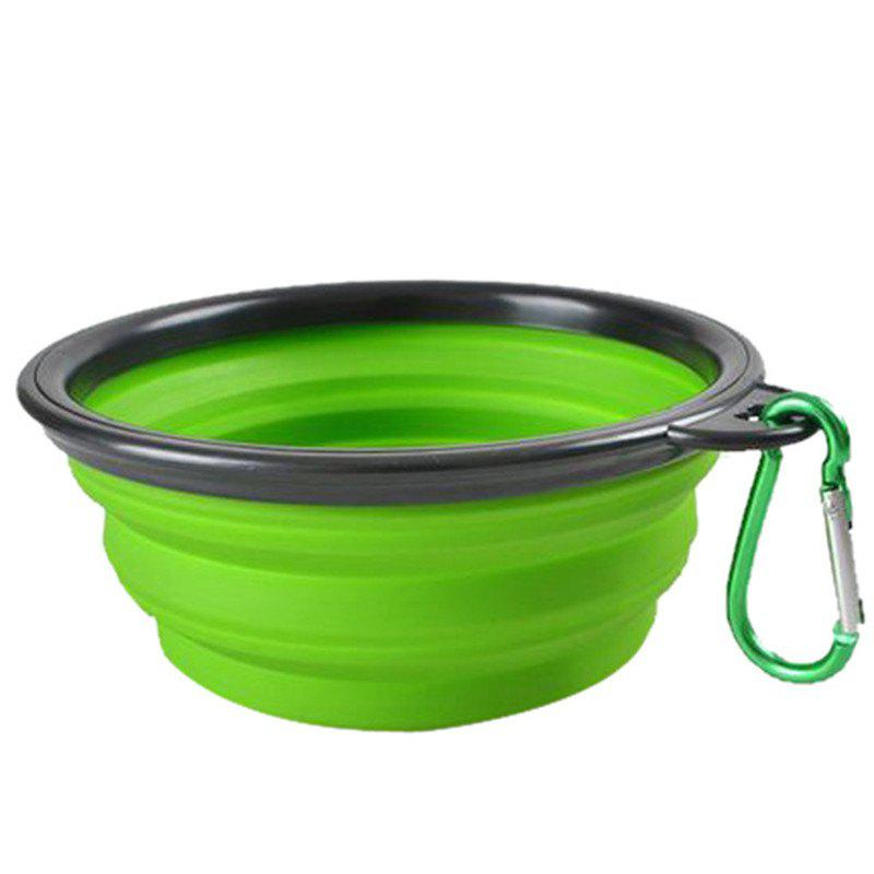 Silicone Bowl Pet Folding Dog Bowls for Food the Dog Drink - GREEN