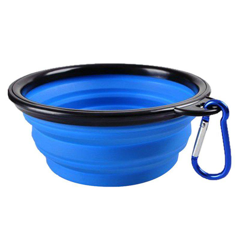 Silicone Bowl Pet Folding Dog Bowls for Food the Dog Drink - BLUE