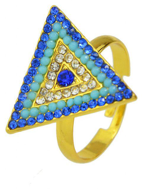 Fashion Metal Rhinestone Geometry Adjustable Ring for Women - multicolor D RESIZABLE