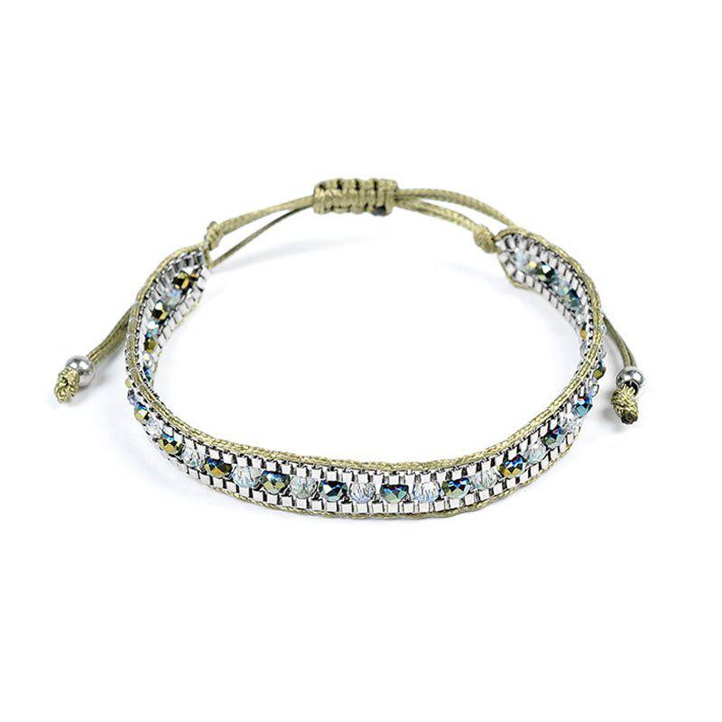 Creative New Lady Natural Stone Crystal Hand-Knitted Bracelet - GREEN