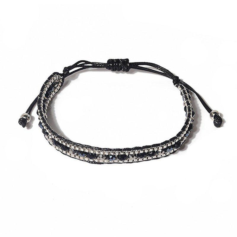 Creative New Lady Natural Stone Crystal Hand-Knitted Bracelet - BLACK