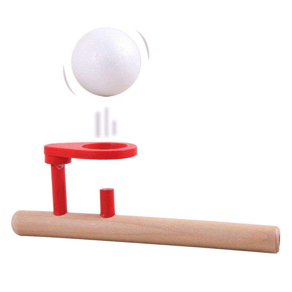 Kids Floating Ball Game Blowing Pipe Classic Fun Wooden Popular Toy - WOOD