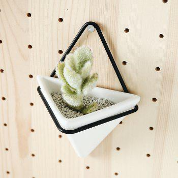 Wall Mounted Pyramid Flowerpot with Iron Shelf Succulent Plant Ceramic Pot - multicolor A 30CM X 20.8CM