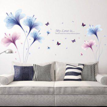 Beautiful Flowers Purple Jade Orchid Wall Stickers Home Decor - multicolor