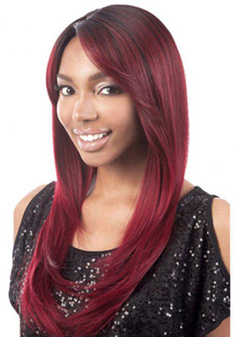Slanted Fringe Straight Long Wig - RED WINE 28INCH