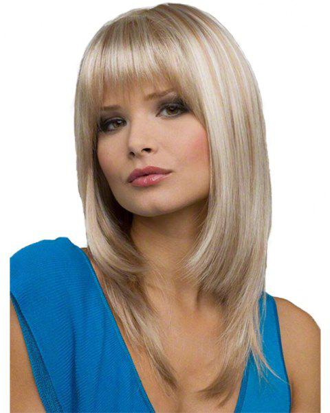 Gradient Ramp Slim Face Long Wig - WARM WHITE 16INCH