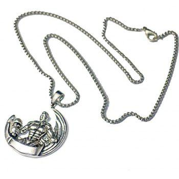 Vintage Moon Muscle Male Dumbbell Necklace - SILVER