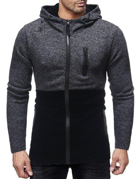Men's Fashion Stitching Chest Personality Zipper Design Casual Slim Hooded Jacket - BLACK L
