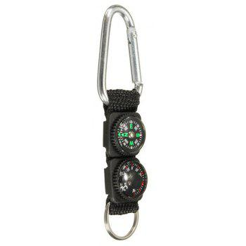 3 in 1 Survival Keychain Ring Camping Buckle Compass Thermometer Multifunctional - BLACK