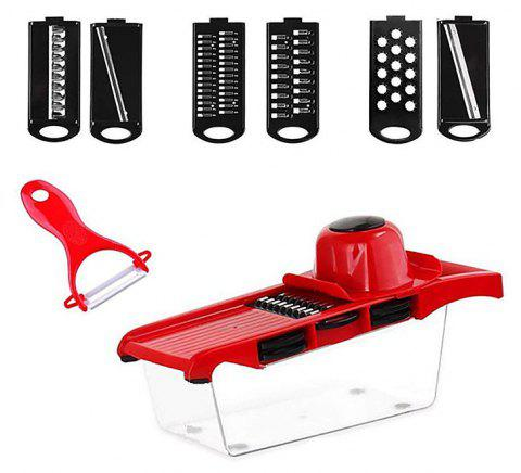 Multifunction Vegetable Cutter with Stainless Steel Blade Manual Potato Slicer - RED