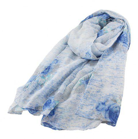 Fashion Colorful Flower Printed Long Gauze Scarf - multicolor A