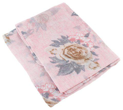 Fashion Colorful Flower Printed Long Gauze Scarf - multicolor C
