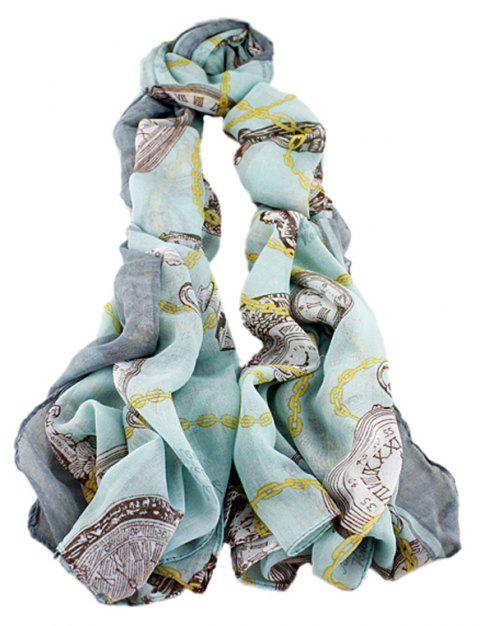 Fashion Women Multicolor Voile Soft Print Scarf - multicolor C
