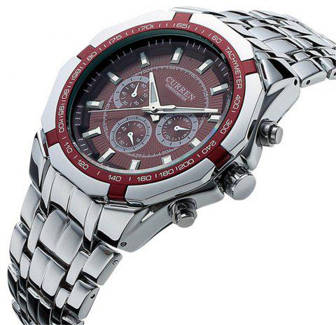 Curren 8084 Brand Luxury Stainless Steel Quartz Casual Sport Clock Men Watch - FIREBRICK
