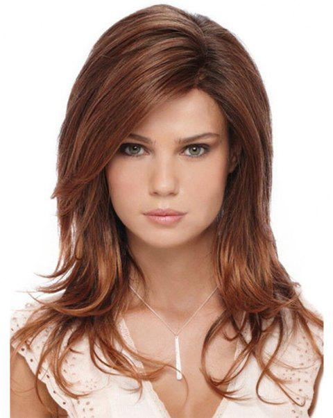 Gradient Ramp Slightly Curly Long Wig - CHESTNUT 26INCH