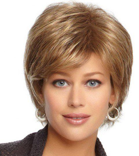 Fluffy Slim Face Slight Curl Short Wig - SAND 12INCH