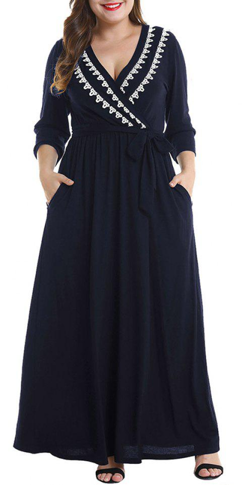 V Collar Half Sleeve Tight Waist Dress - CADETBLUE 2XL