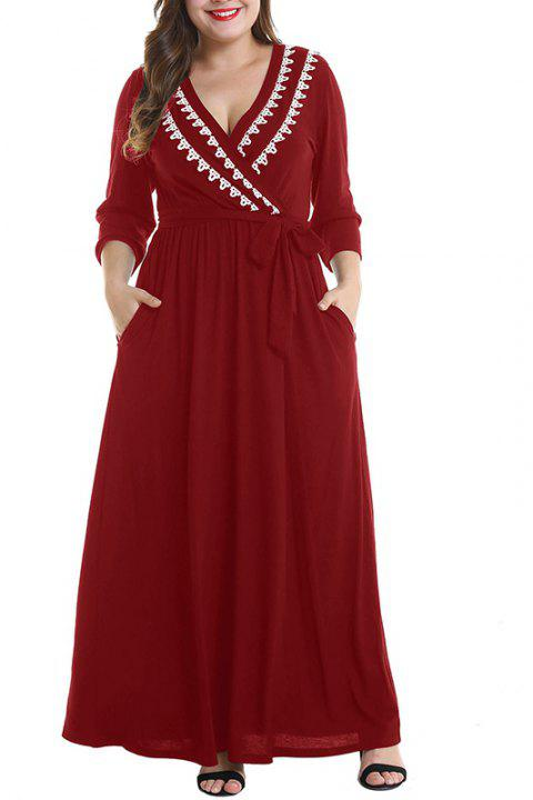 V Collar Half Sleeve Tight Waist Dress - RED WINE 4XL