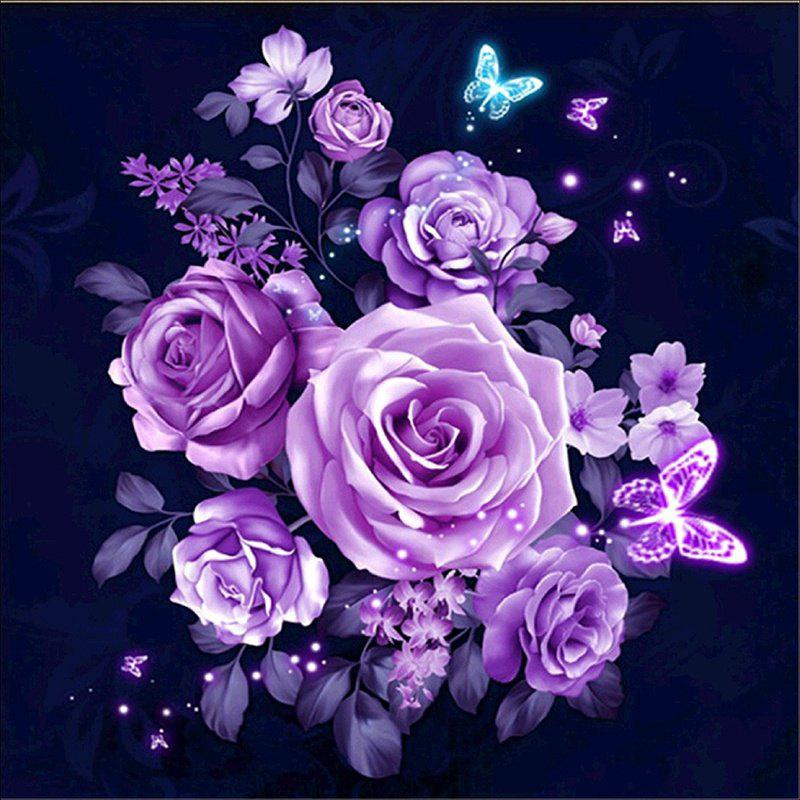 Home Wall Decor Flower 5D Diamond Painting Full DIY Embroidery Cross Craft - MAUVE