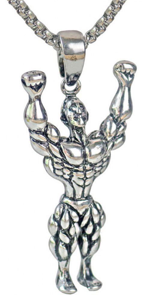 Fashion Fitness Muscle Sports Wind Pendant Necklace - SILVER