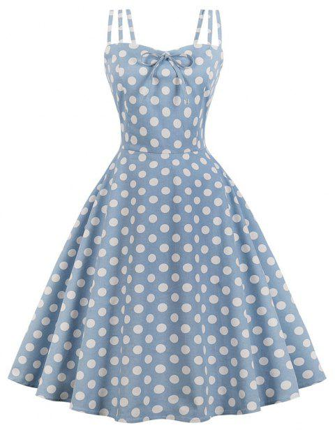 Condole Belt Wave Point of Printing Dress - SEA BLUE XL