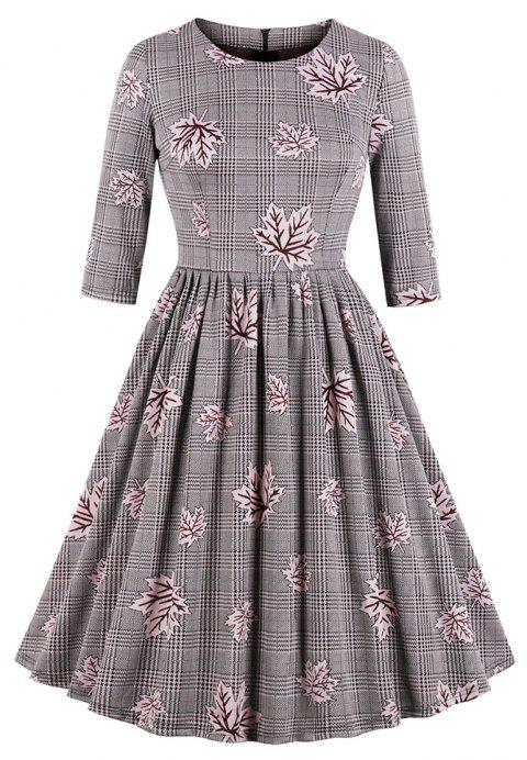 Plus Size Grid Maple Leaf Printing Round Collar Dress - LIPSTICK PINK 2XL