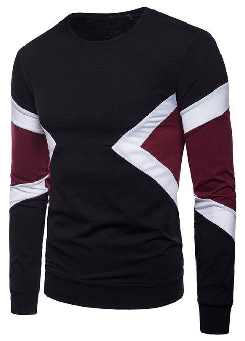 Patchwork Long Sleeve Men T-shirt - BLACK 2XL