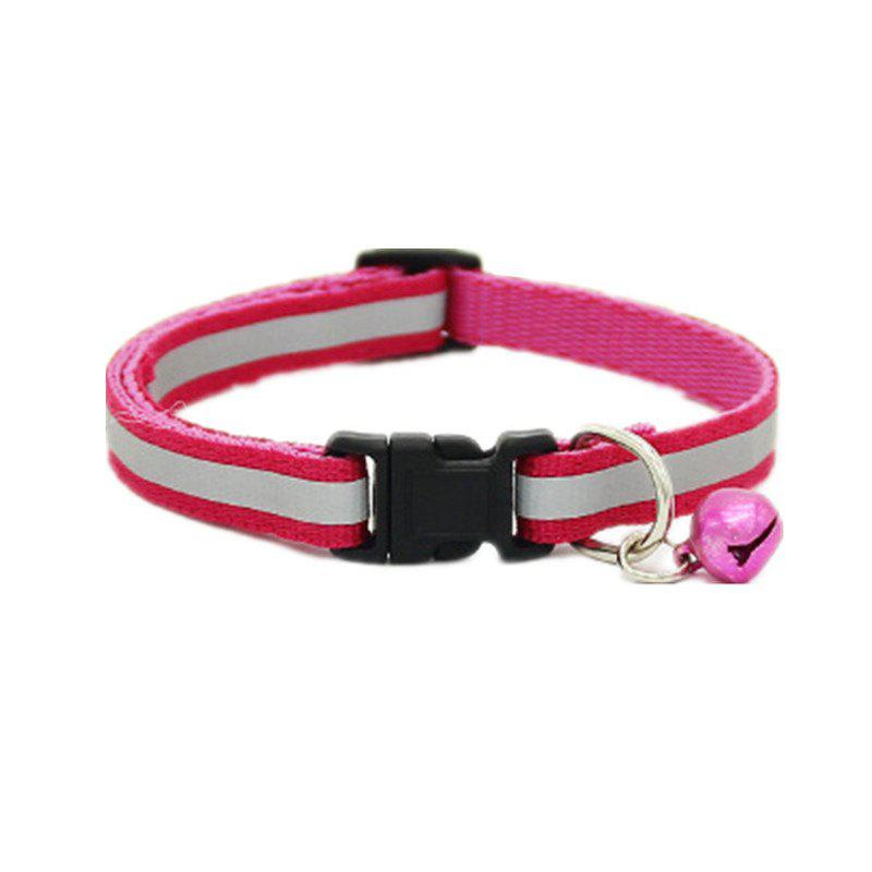 Reflective Pet Bell Collar - ROSE RED M