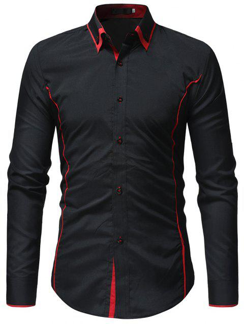 Fashion Classic Contrast Color Double Collar Men's Casual Slim Long Sleeve Shirt - RED 3XL
