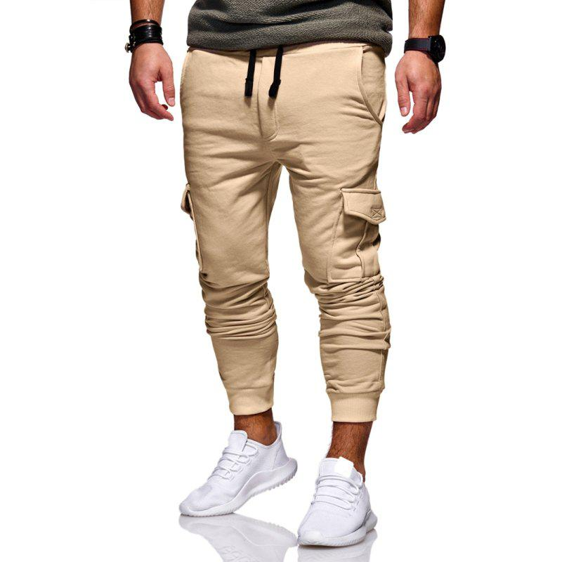 Men's Fashion Casual Slim Trousers - LIGHT KHAKI 2XL