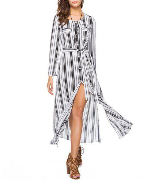 Women's Round Neck Long Sleeve Stripes Print Buttons Chiffon Maxi Shirt Dress - WHITE L
