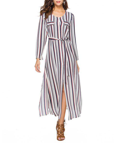 Women's Round Neck Long Sleeve Stripes Print Buttons Chiffon Maxi Shirt Dress - RED M