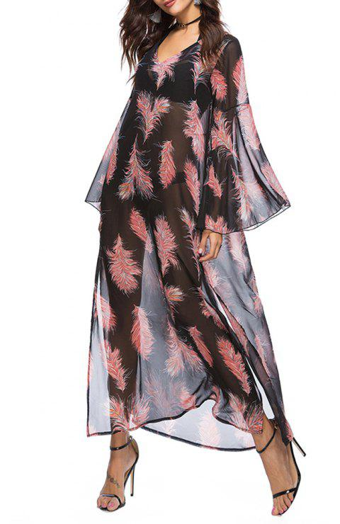 Women's Fashion Print Flare Sleeve Beach Smock Chiffon Casual Maxi Dress - RED L