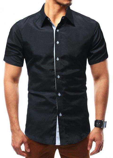 Solid Color Short Sleeve Casual Wild Men's Shirt - BLACK XL