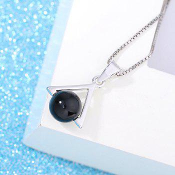 Black Agate Simple Elegant Triangular Necklace Pendant - BLACK 2*1*1CM