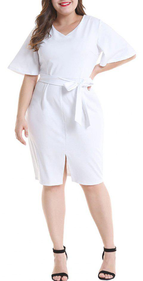 Solid Color Flare Sleeve V Collar Package Hip Dress - WHITE 4XL