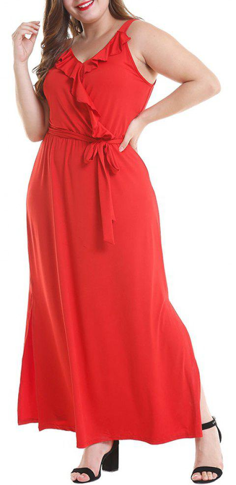 Solid Color V Collar Falbala Slit Dress - RUBY RED 2XL