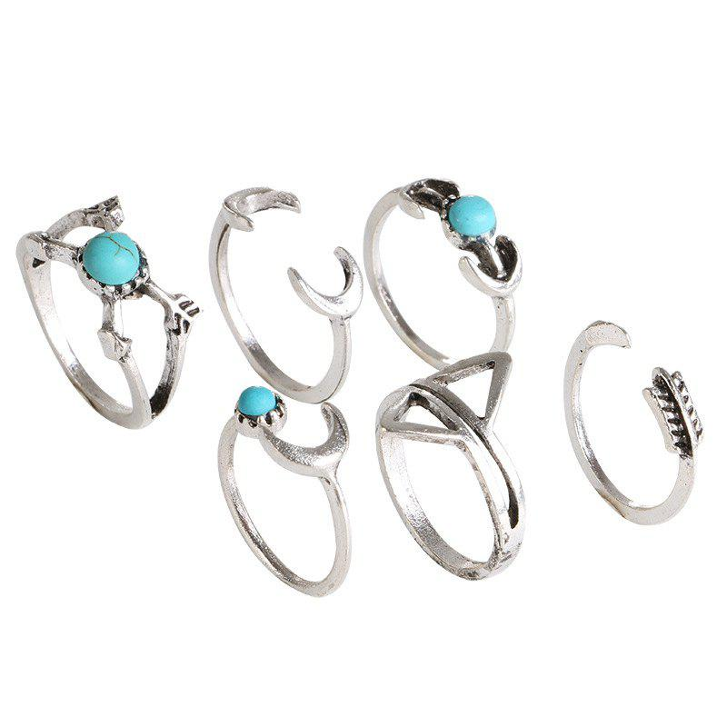 Six Pieces Fashion Style Geometric Turquoise Ring - SILVER RING SET