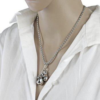 Vintage  Fitness Double Boxing Gloves Pendant Necklace - SILVER