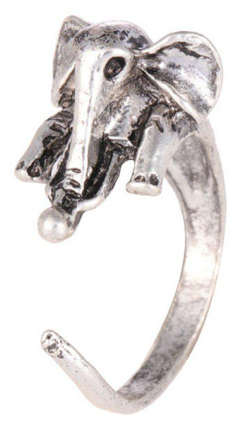 Cute Vintage Adjustable Opening Elephant Ring - SILVER RESIZABLE