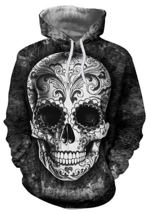 3D Skull Demon Digital Thermal Transfer Printing Fashion Men's Hoodied Sweater - JET BLACK XL