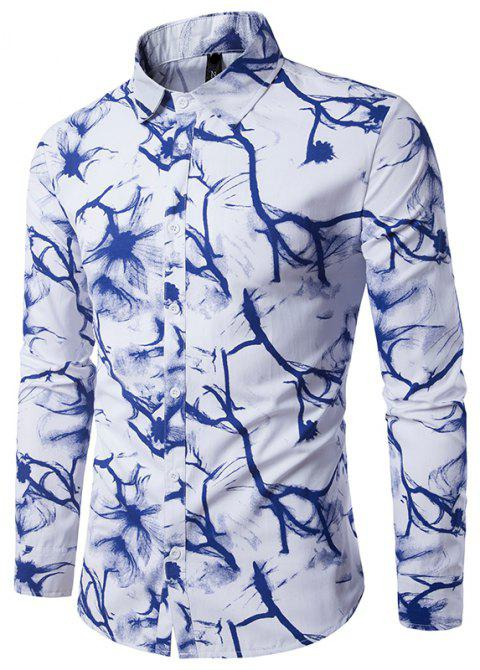 Printed Men's Long Sleeve Shirt - multicolor H 2XL