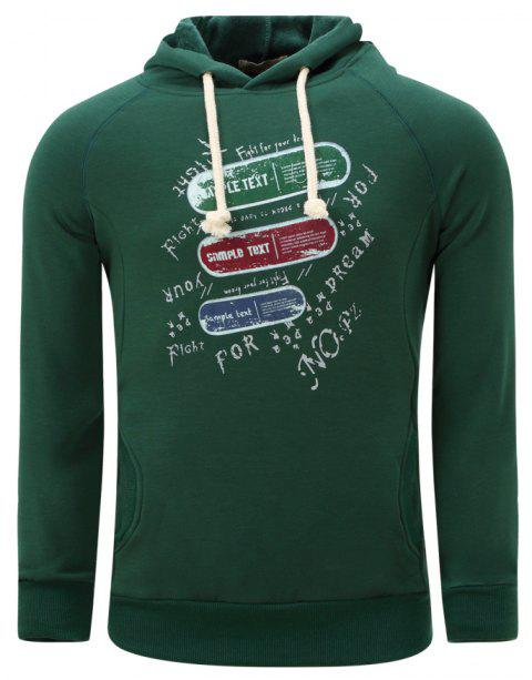 FREDD MARSHALL Men's Winter Heavy Printed Hoodie - DEEP GREEN XL