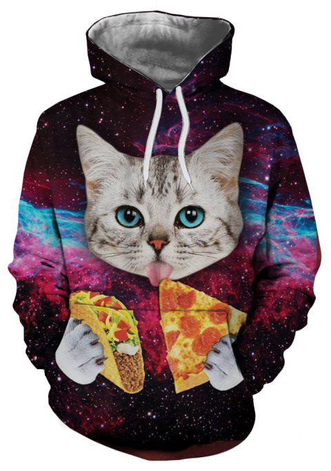 3D Creative Pizza Starry Cat Pattern Printing Men's Hoodie - multicolor 2XL