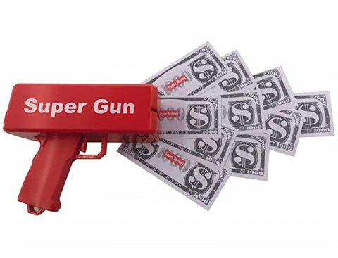Fashion Gift Game Cash Cannon Funny Money Gun Toy Pistol - RED