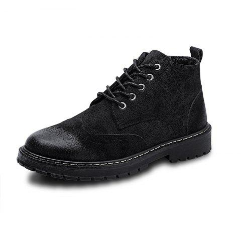 ZEACAVA Winter British Style Fashion Sleeve Men's High Boots - BLACK 40