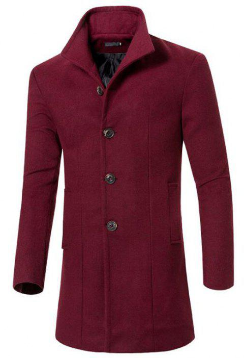 Men's Peacoat Stand Collar Breasted Trench Coat - RED WINE L